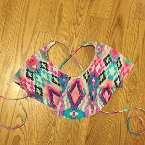 Tribal print flounce ruffle swim bikini top